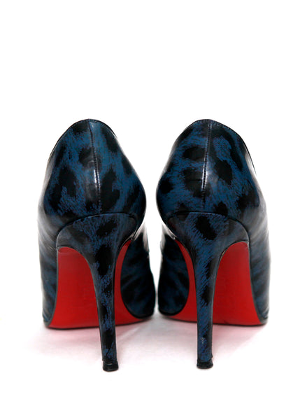 Back view of Pigalle Blue  Leopard Patent Leather Pumps