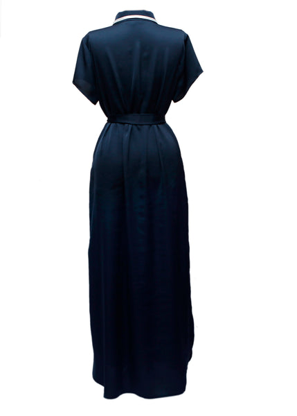 Blue Midi Silk Dress