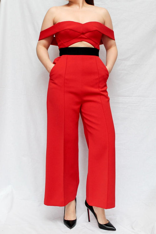 Red Off-Shoulder Jumpsuit