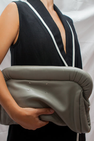 Grey Leather Clutch