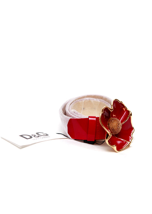 Luxury DOLCE & GABBANA Coral Red Belt