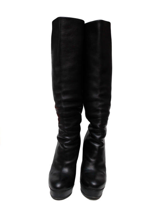 Gucci Black knee-high leather boots front