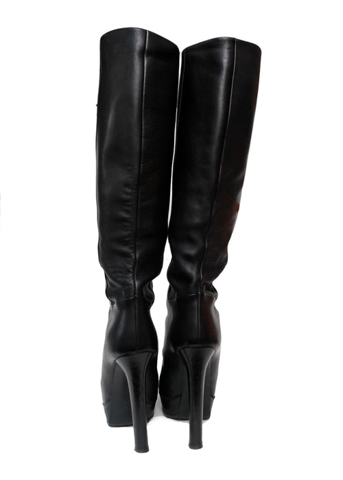 Gucci Black knee-high leather boots back