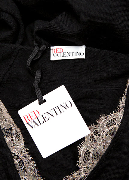 Logo on Pre owned RED VALENTINO Black Wool Dress