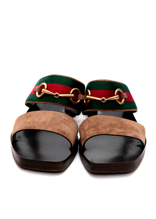 Gucci square toe leather sandals