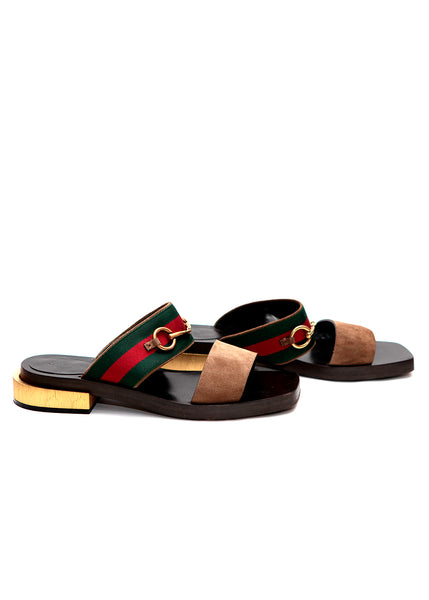 Gucci green/red/green strap sandal