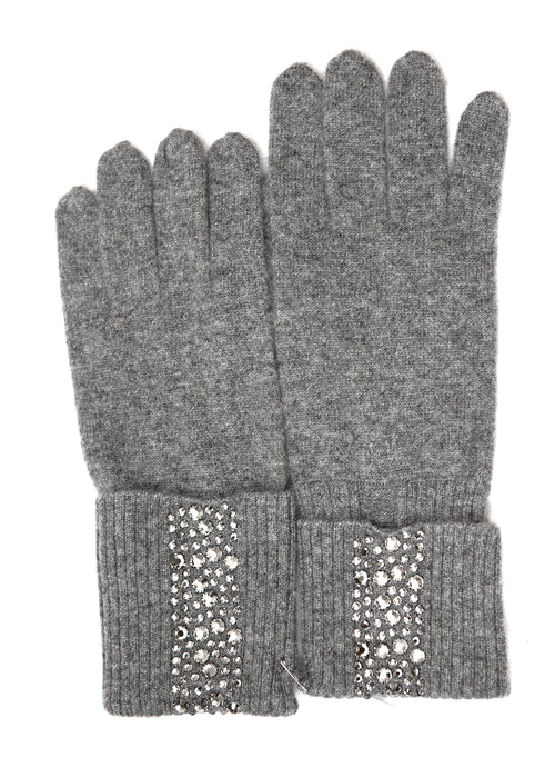 Grey cashmere beanie hat and gloves