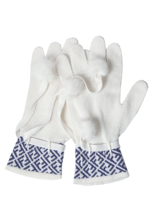Fendi white wool gloves in monogram