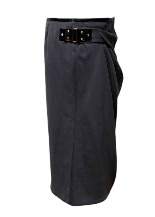 Gucci Grey wool pencil skirt trimmed with leather embroidery