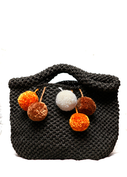 Dark brown knitted bag