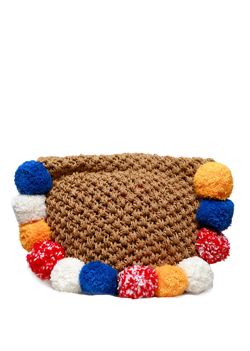 Beige Knitted Clutch
