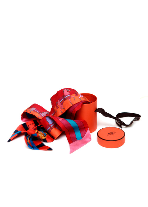 Coral & Orange Silk Twilly
