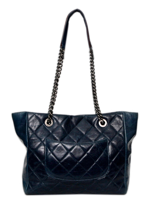 Pre owned original Chanel Blue chained bag back view