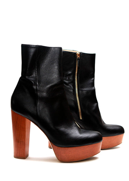 Black Faux Leather Platform