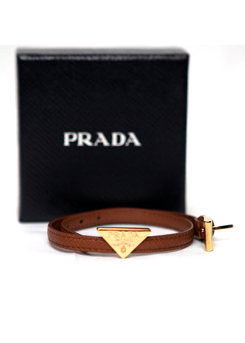 Prada logo leather bracelet