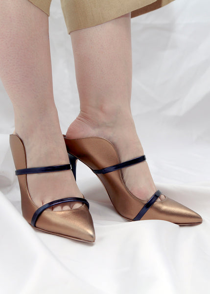 Malone Souliers bronze straight toe mules