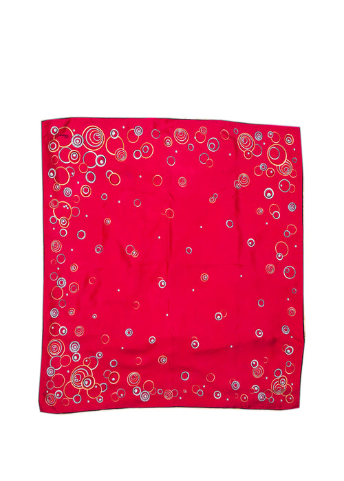 Chopard red silk carres scarf