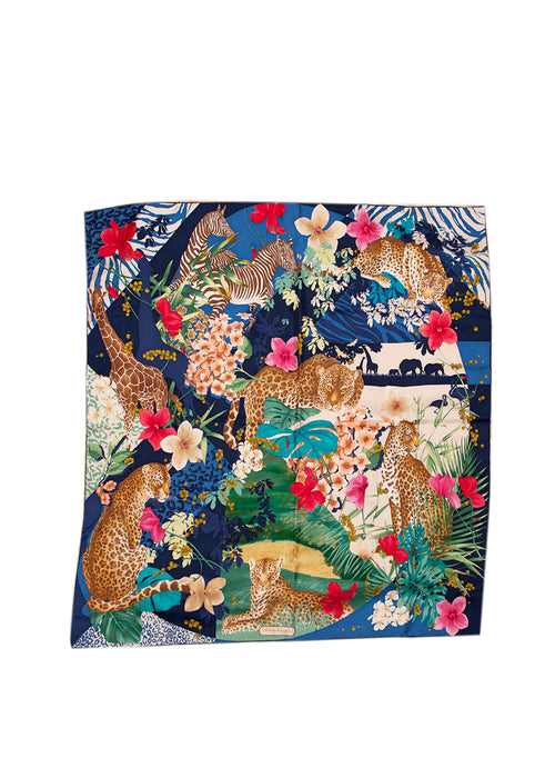 Salvatore Ferragamo floral and animal printed silk scarf