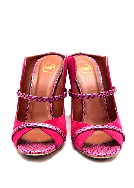 Malone Souliers pink mules in python