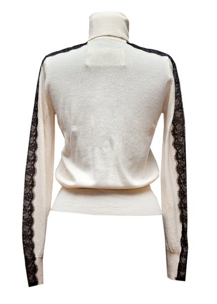 By Malene Birger ivory wool and lace sweater