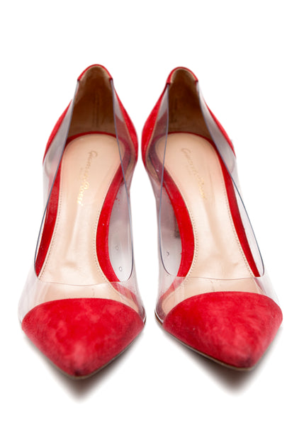Gianvito Rossi plexi pumps in red suede