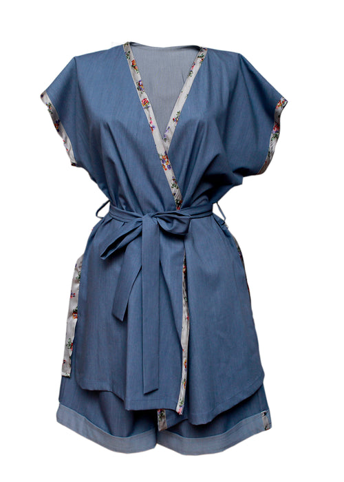 Blue kimono set with shorts