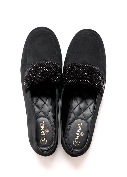 Black Satin Loafers