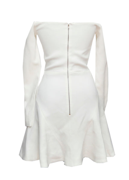back view white off-shoulder dress by David Koma