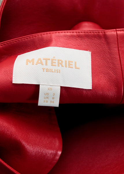 brang tag of Matériel  red faux leather masculine jacket