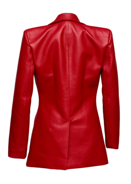back view of Matériel  red faux leather masculine jacket