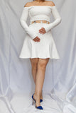 front view white off-shoulder dress by David Koma