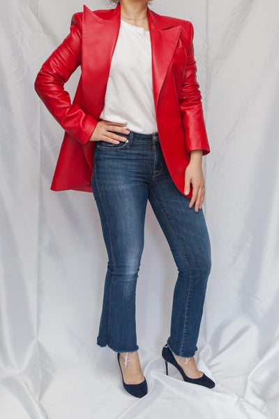 front view of Matériel  red faux leather masculine jacket
