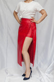 front view of red faux leather midi skirt with buttons from MATERIEL