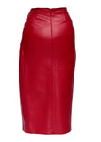 back view of red faux leather midi skirt with buttons from MATERIEL