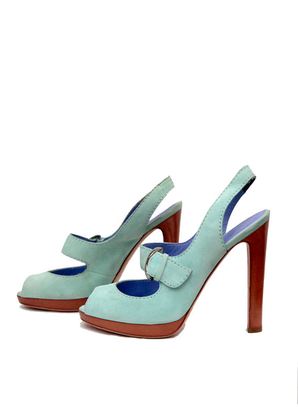 side view Light blue sandals from Sergio Rossi