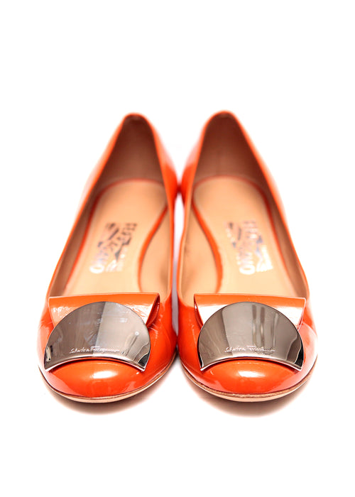 Orange Patent Pumps