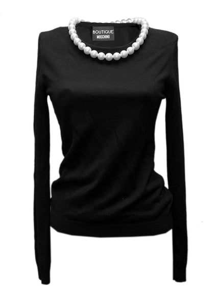 Moschino black wool sweater in pearls