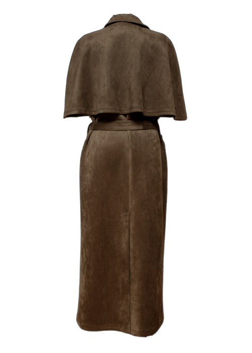 back view of Brown Suede Coat created by Azerbaijani designer THE SEGMENT