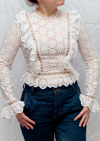 Zimmermann white top with ruffles