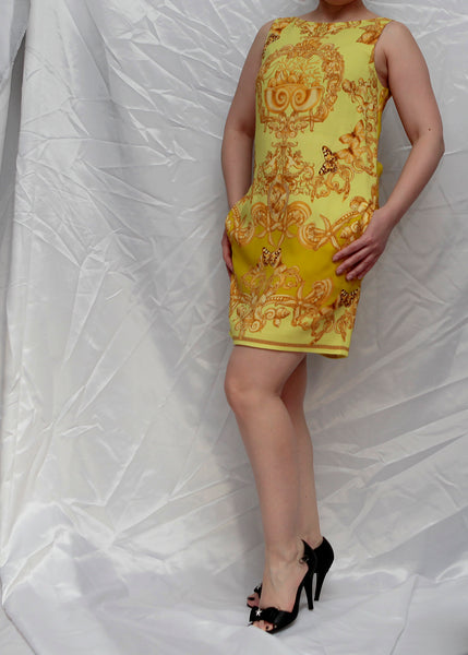 Versace yellow silk dress