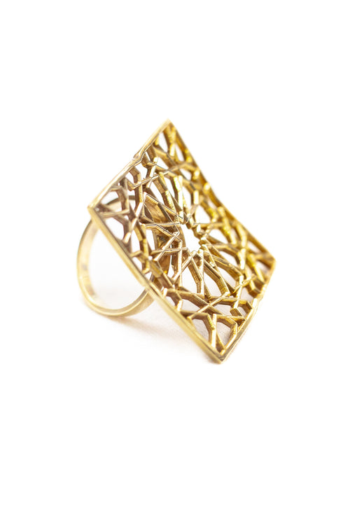 SHAMSA square silver ring