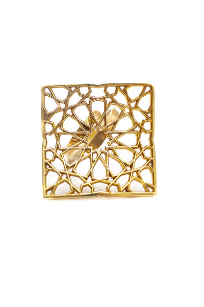 SHAMSA square silver ring in gold