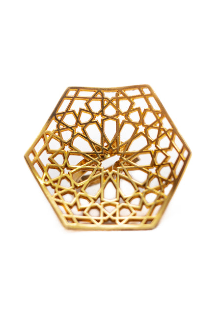 """Möminə Xatun"" square silver ring in gold"
