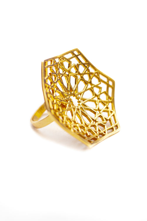 Shamsa silver ring in gold