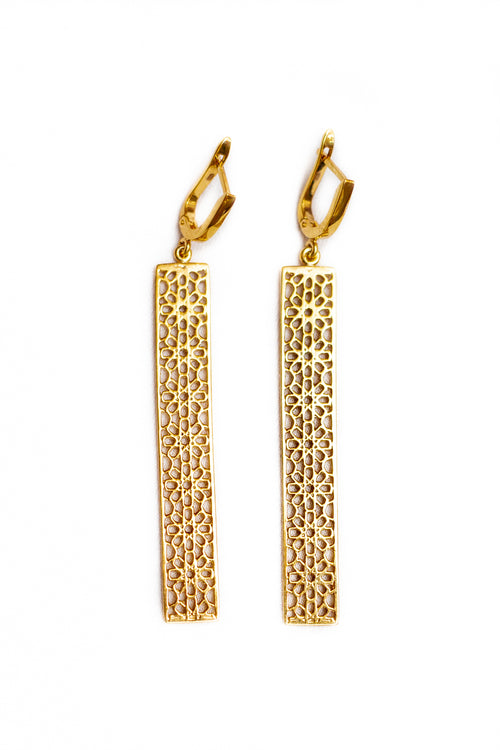 SHAMSA silver long earrings in gold