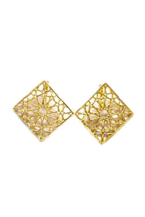 SHAMSA square form silver earrings