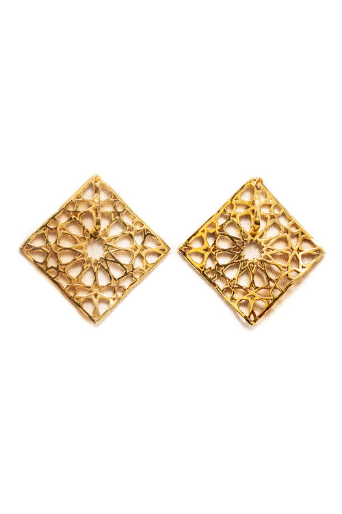 SHAMSA square form silver earrings in gold