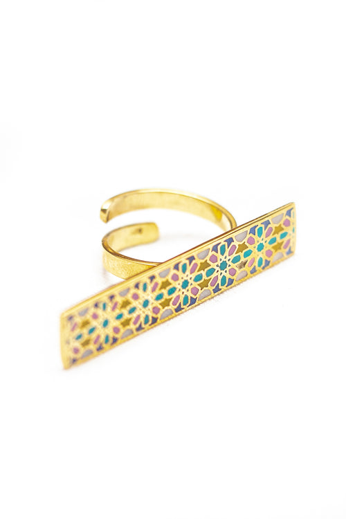 SHAMSA silver ring in coloured enamel