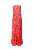 Front view of BCBG Max Azria lace maxi dress