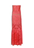 Back view of BCBG Max Azria lace maxi dress